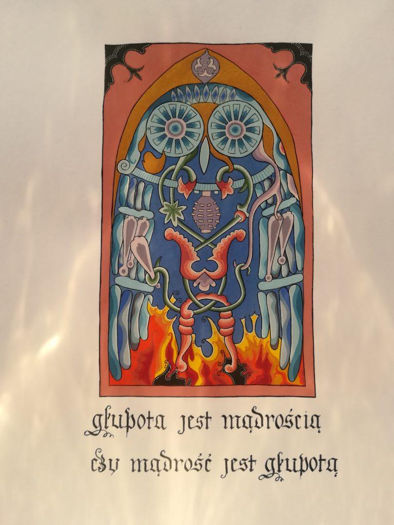 miniatura przedstawiająca sowę krótki z przemyśleniem na temat głupoty i mądrości