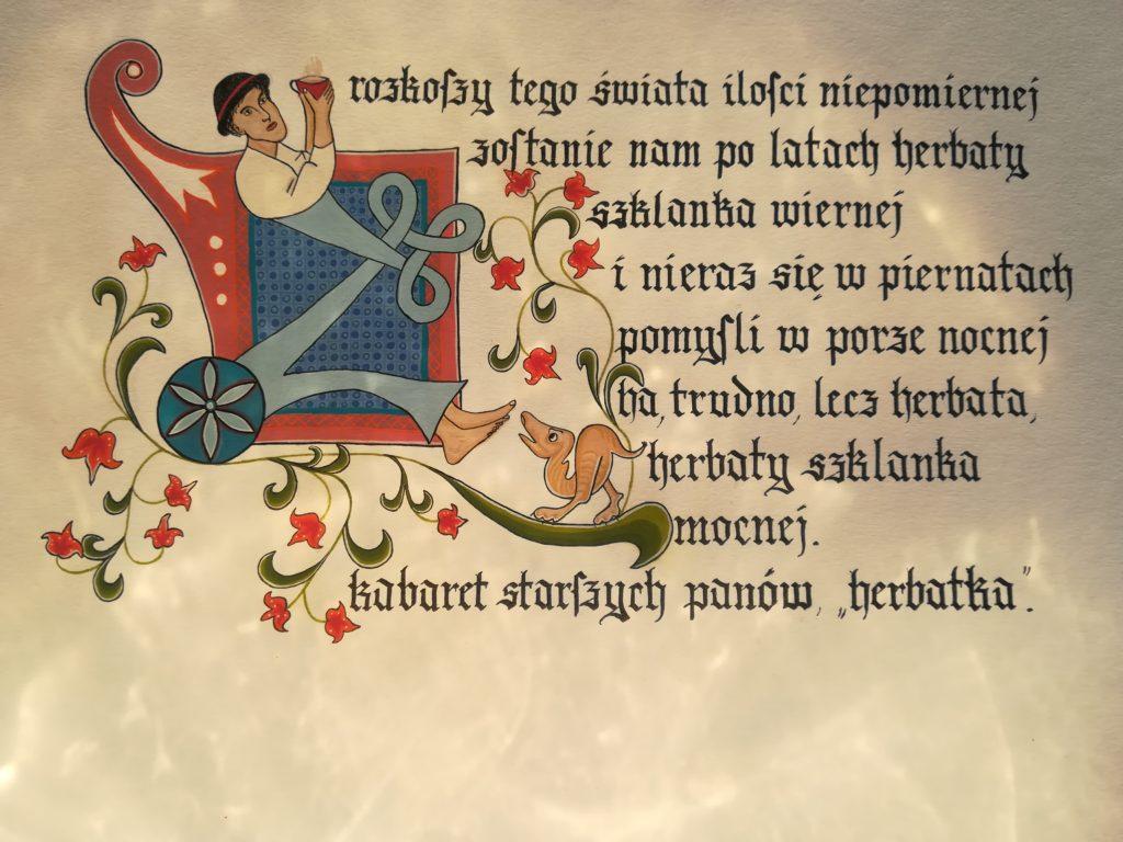 Kaligrafia. Tekst napisany teksturą.