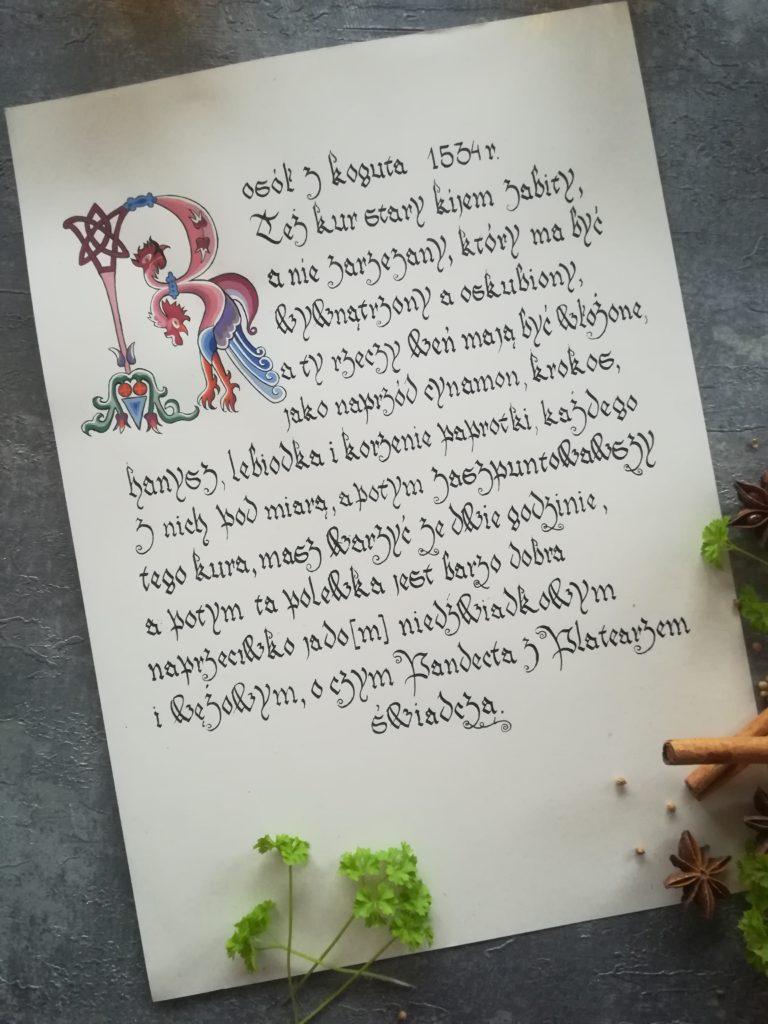najstarszy przepis na rosół, przepis na rosół z XVI w., miniatura kogut