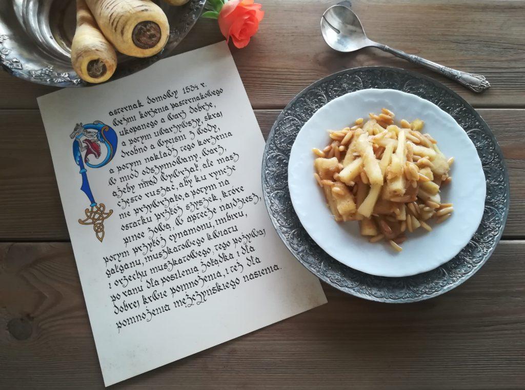 pasternak smażony z miodem i cynamonem, najstarsze przepisy kulinarne, przepisy Stefana Falimirza, przepisy kaligrafia, najlepsze przepisy na pasternak, zapomniane warzywa