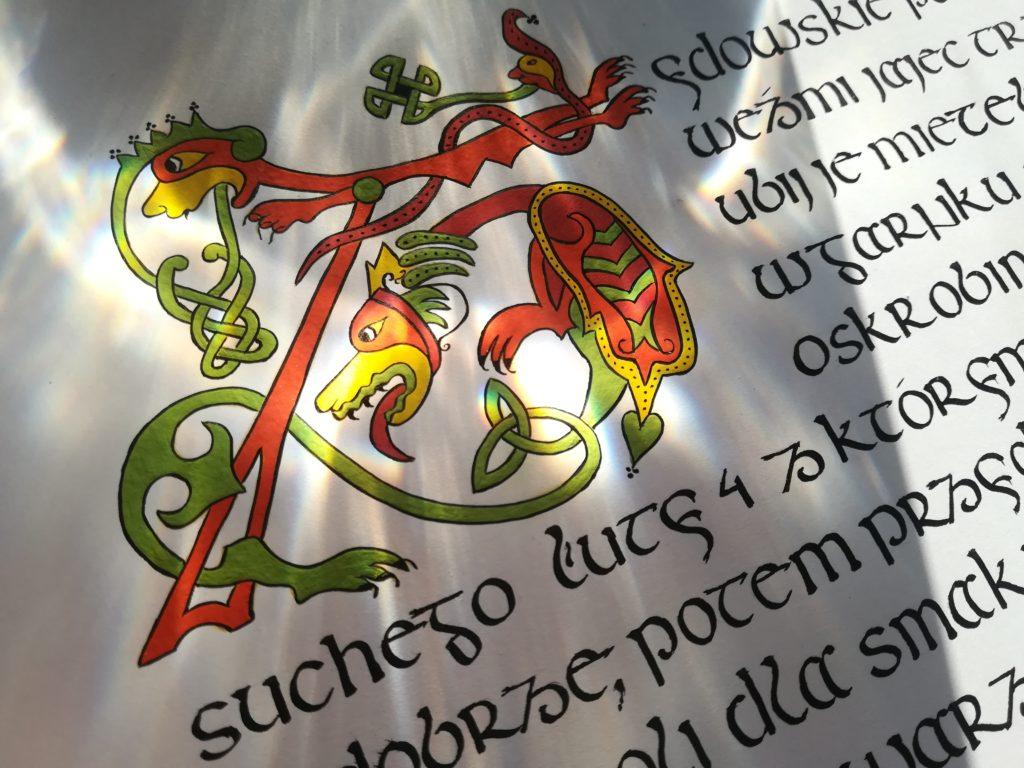 kaligrafia małopolska, kaligrafia gotowanie, danie staropolskie
