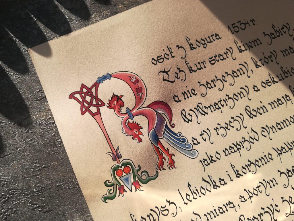 najstarszy przepis na rosół, kaligrafia staropolska, kaligrafia małopolska