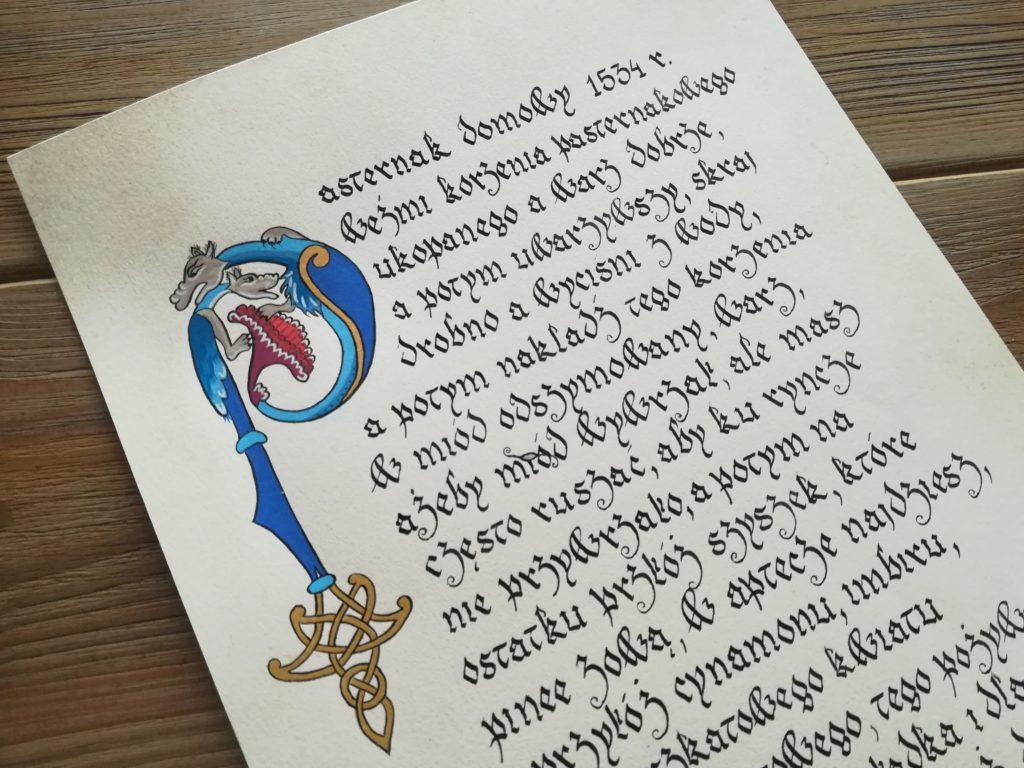 pasternak domowy kaligrafia, kaligrafia staropolska, kaligrafia gotowanie, kaligrafia Małopolska, małopolskie miniatury, przepis na staropolską potrawę