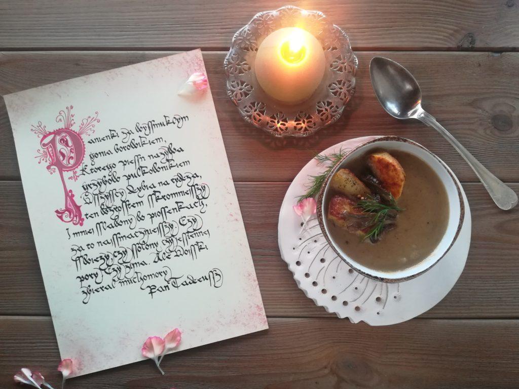 kaligrafia staropolska, kaligrafia małopolska, pan tadeusz kaligrafia, grzybobranie kaligrafia, zupa grzybowa kaligrafia