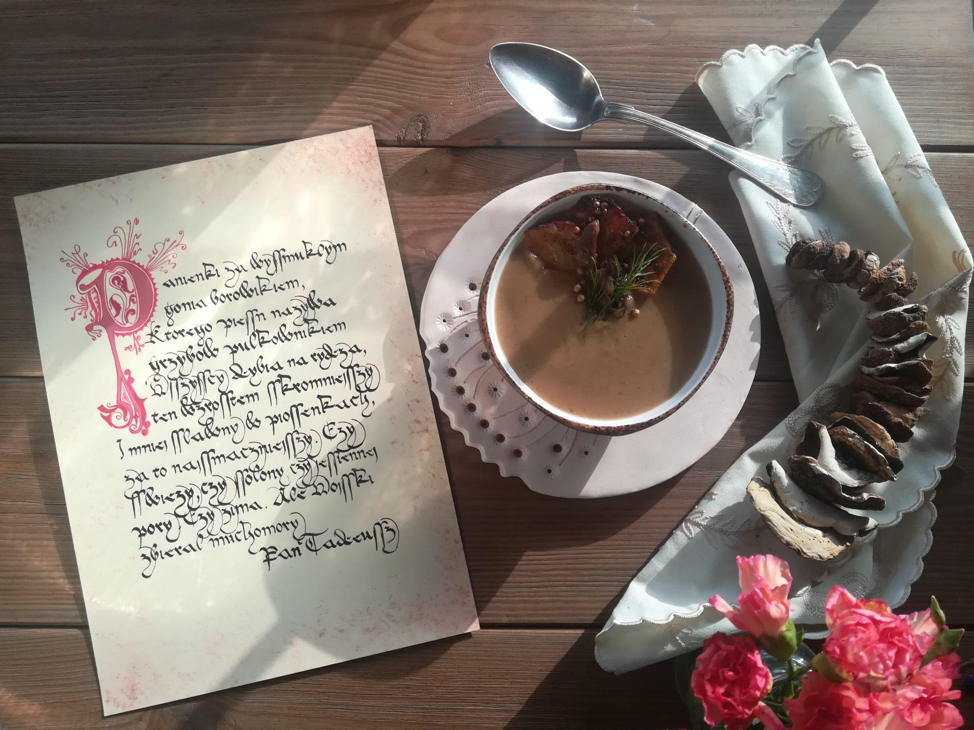 Zupa grzybowa z zapiekanymi ziemniaczkami
