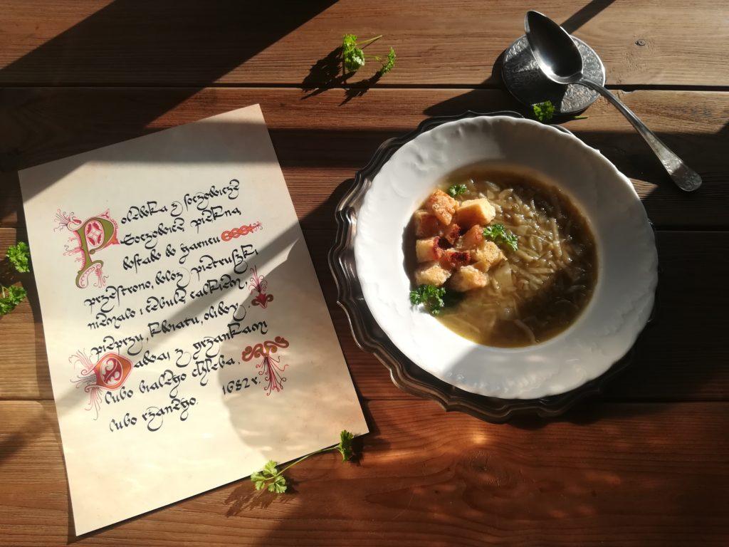 kaligrafia gotowanie, staropolskie przepisy, kuchnia staropolska zupa z soczewicy, stare przepisy soczewica, stare przepisy na zupy, compendium ferculorum