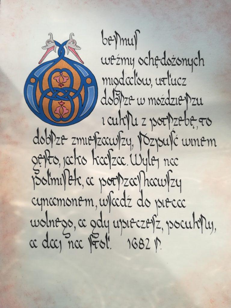 kaligrafia kulinarna, Compendium Ferculorum, obermus, Stanisław Czerniecki, stary przepis na deser z migdałów, cukru i wina