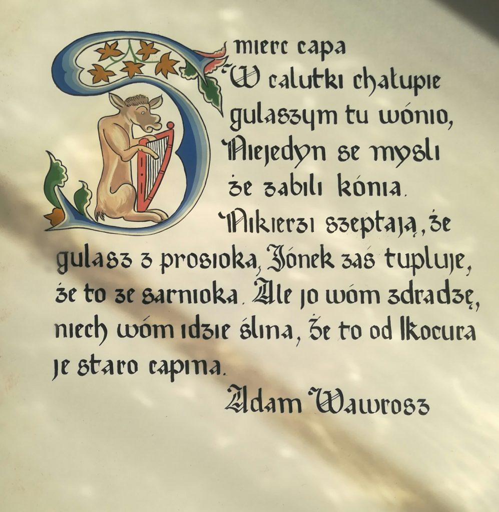 kaligrafia zupa gulaszowa, śmierć capa, adam wawrosz śmierć capa, tradycyjna zupa gulaszowa