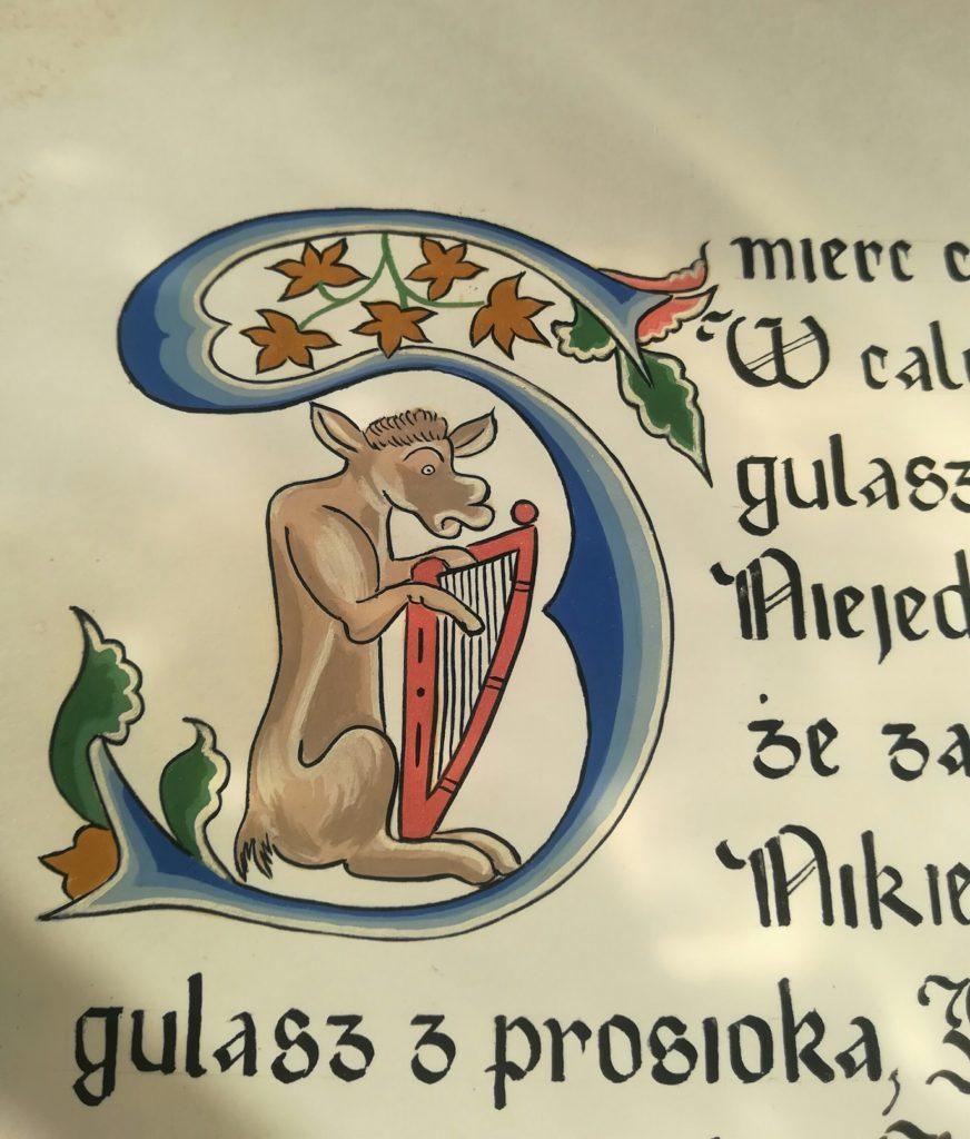 kaligrafia kulinarna, kaligrafia zupa gulaszowa, adam wawrosz śmierć capa