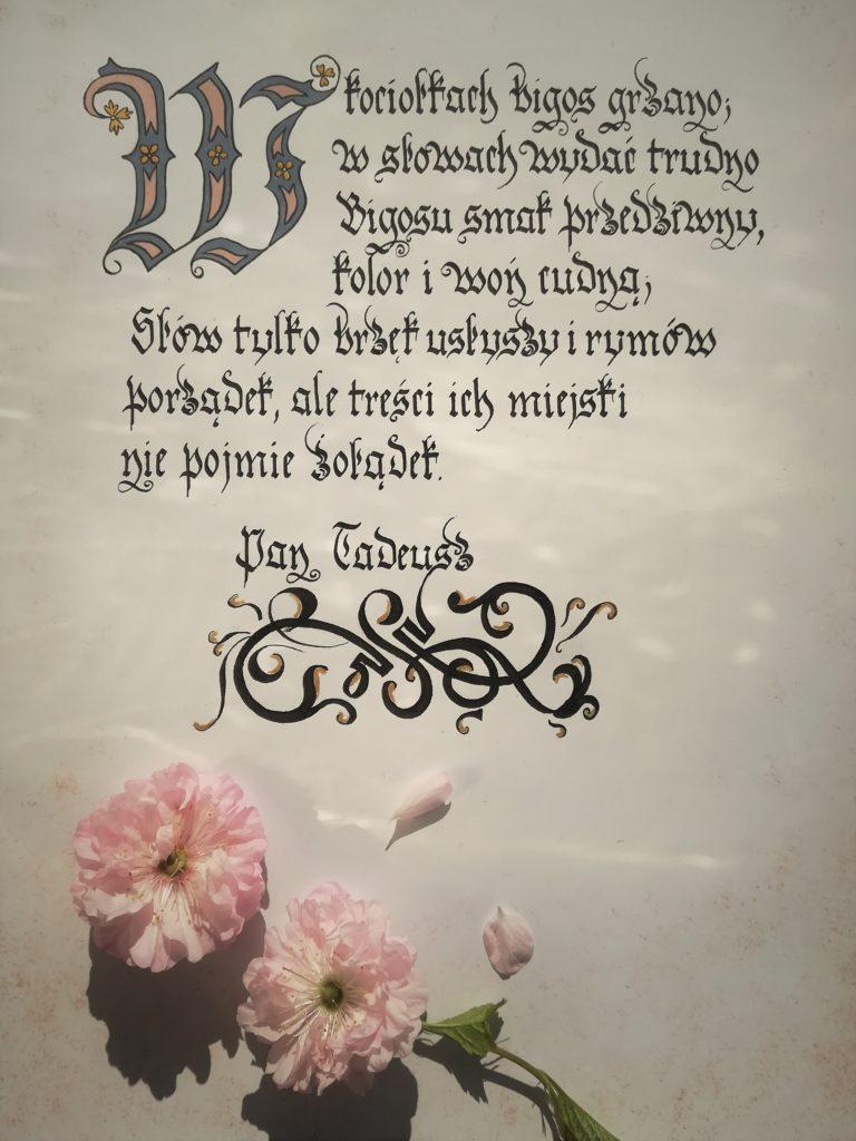 bigos staropolski kaligrafia, bigos Pan Tadeusz, opis potraw staropolskich Pan Tadeusz, kaligrafia małopolska