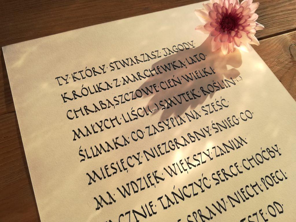 jagodzianki kaligrafia, ty który stwarzasz jagody kaligrafia