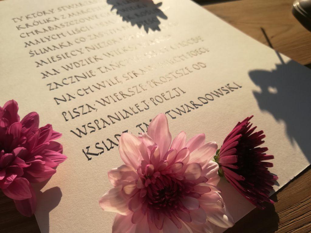 ksiądz Jan Twardowski wiersze, Który stwarzasz jagody kaligrafia, stara receptura na jagodzianki, kaligrafia małopolska