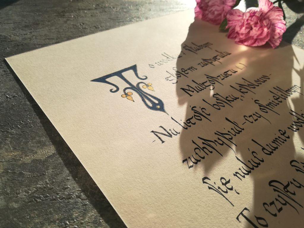 kaligrafia małopolska, kaligafia literacka, Mistrz i Małgorzata, starodawne przepisy na ciasto, najlepszy przepis na Fale Dunaju, Michaił Bułhakow kaligrafia