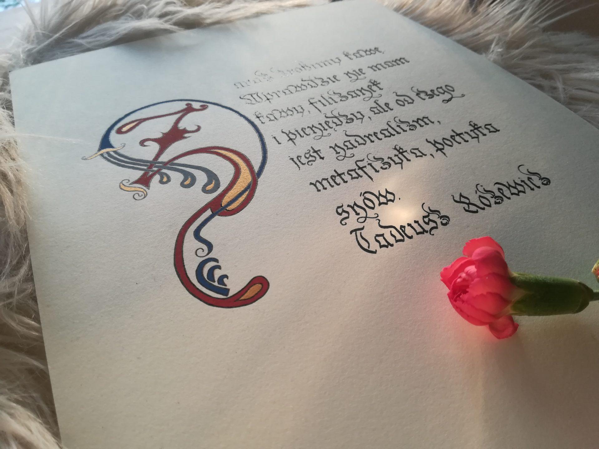 kaligrafia małopolska, kaligrafia kulinarna, kaligrafia literacka, kaligrafia Różewicz, zaraz zrobimy kawę, kawa, poezja Tadeusz Różewicz