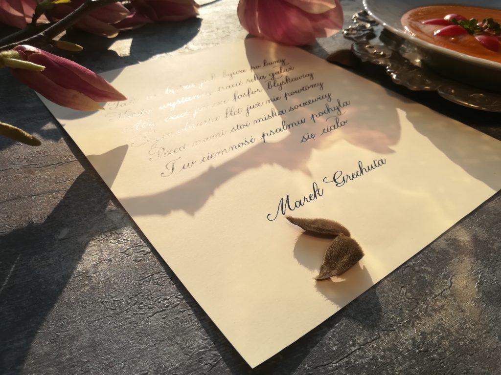 Krajobraz z wilgą i ludzie kaligrafia, kaligrafia małopolska, kaligrafia Wieliczka, Marek Grechuta kaligrafia, kursywa angielska kaligrafia, zupa z soczewicy kaligrafia, najlepsze przepisy na zupę z soczewicy, sprawdzony przepis na zupę z soczewicy
