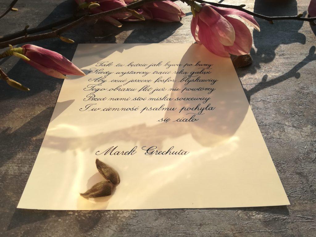 polish poems calligraphy, wiosna wiosna wiosna ach to ty, Marek Grechuta wiersze, Krajobraz z wilgą i ludzie