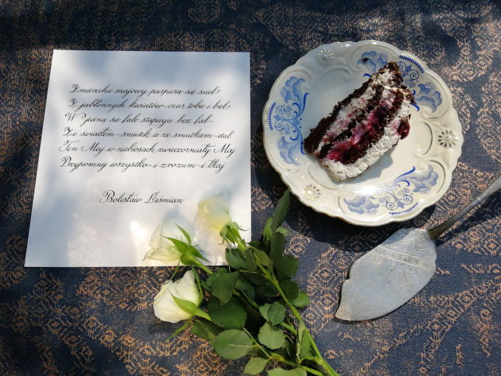 pyszny tort, najlepsze torty i ciasta, torcik z wiśniami, czym naponczować biszkopt, polish calligraphy, polish food bloggers, food&calligraphy, food and calligraphy