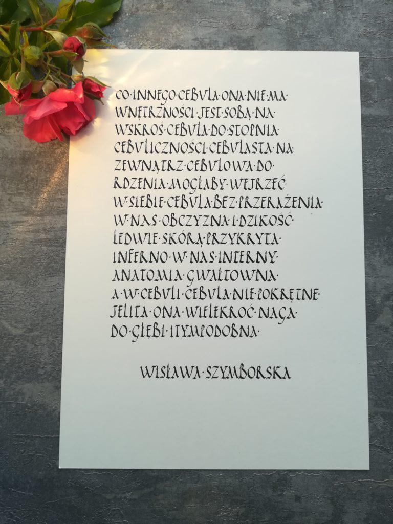 cebula kaligrafia, wiersze kaligrafia