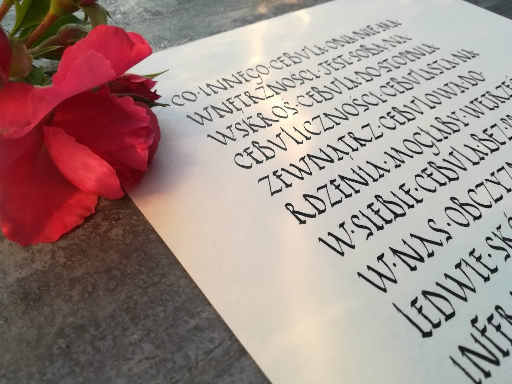kaligrafia wieliczka, wiersze Wisławy Szymborskiej kaligrafia