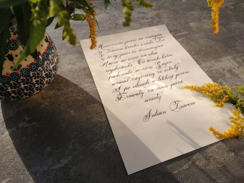 wiersze jesienne, jesień, kaligrafia Wieliczka, kaligrafia Kraków, goldenrod, calligraphy, passion, pasja, ceramika Bolesławiec