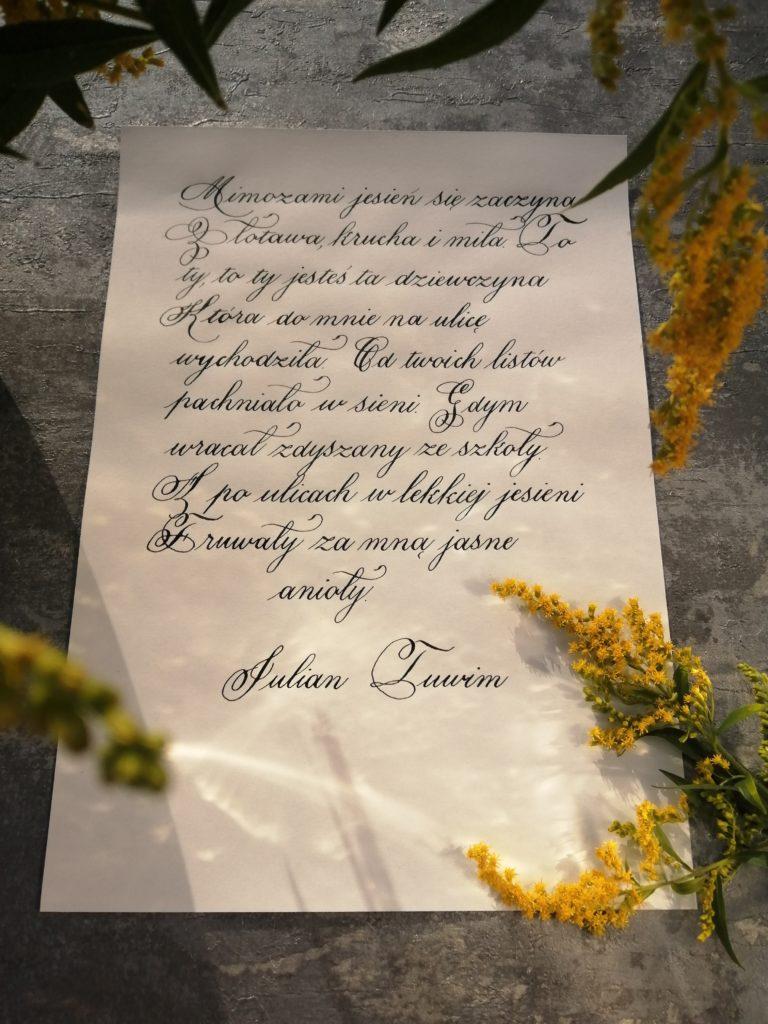 Julian Tuwim wiersze, Czesław Niemen, poezja śpiewana, kaligrafia Wieliczka, goldenrod, calligraphy, food blogger, I love calligraphy, polish calligraphy