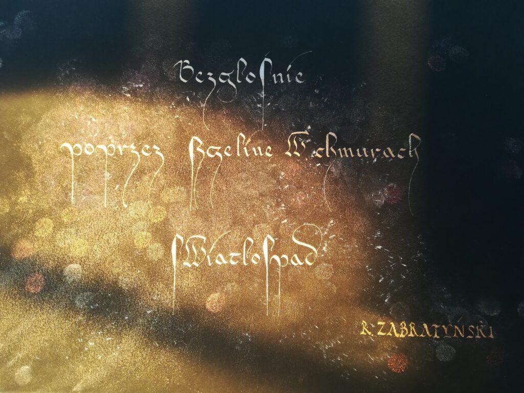 kaligrafia Wieliczka, kaligrafia haiku, haiku Rafał Zabratyński, papierowy żuraw, polska kursywa gotycka, polish calligraphy